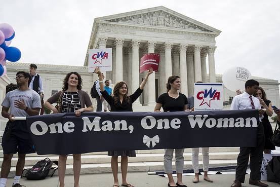 Supporters of marriage between a man and a woman rally in front of the U.S. Supreme Court early on June 26. Reuters