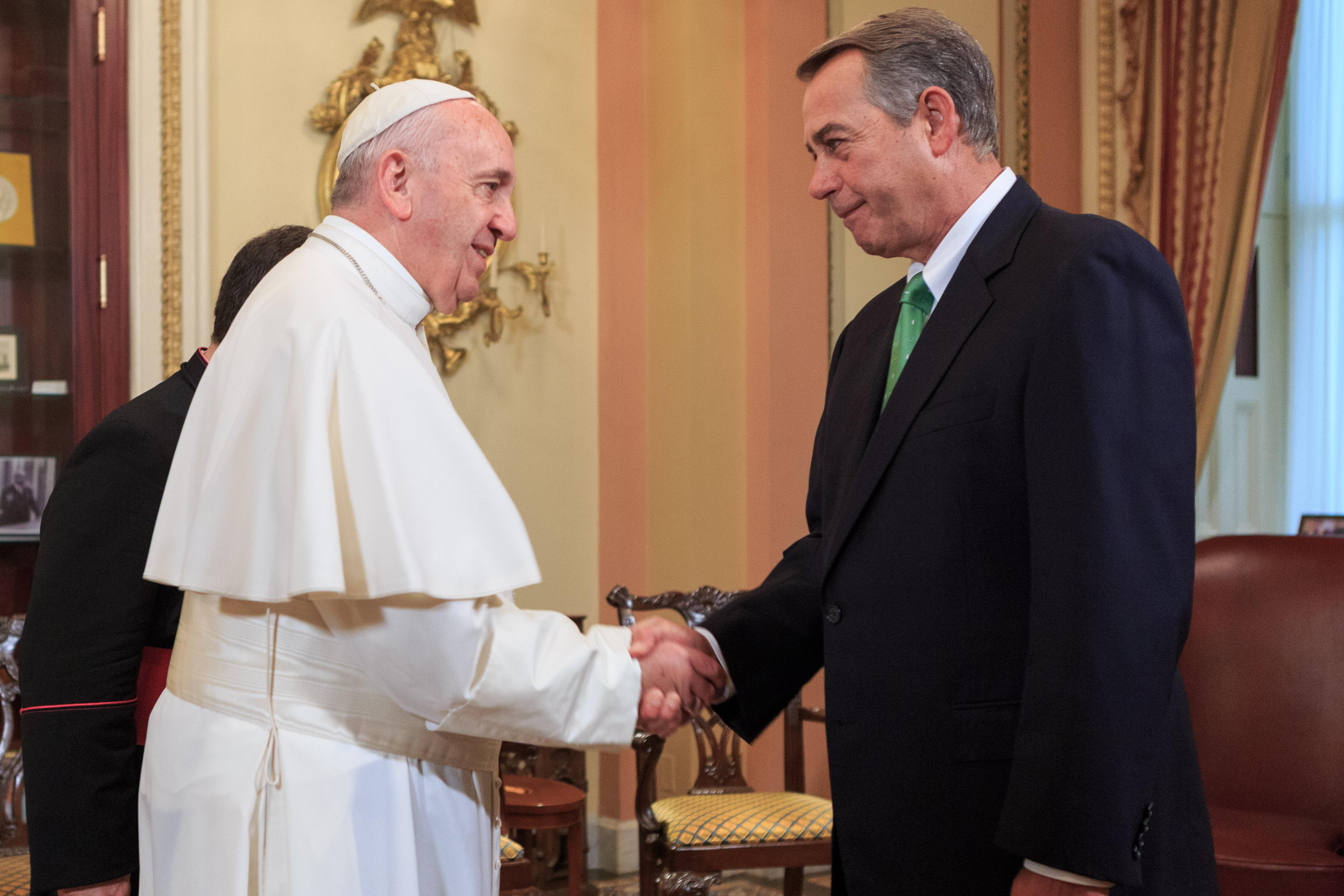 """""""Pope Francis and Speaker Boehner"""" by Speaker.gov - https://www.flickr.com/photos/speakerboehner/. Licensed under Public Domain via Commons - https://commons.wikimedia.org/wiki/File:Pope_Francis_and_Speaker_Boehner.jpg#/media/File:Pope_Francis_and_Speaker_Boehner.jpg"""