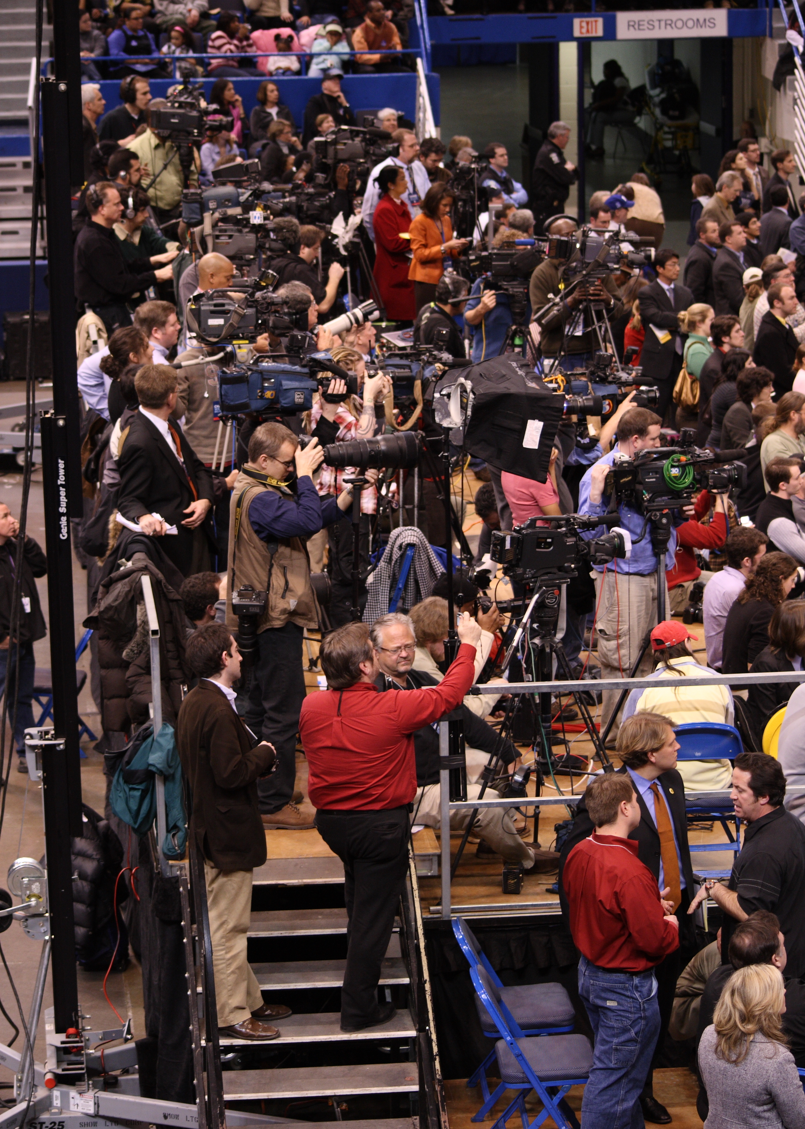 """""""Press photographers and film crews at Barack Obama rally, February 4, 2008"""" by Ragesoss - Own work. Licensed under GFDL via Commons - https://commons.wikimedia.org/wiki/File:Press_photographers_and_film_crews_at_Barack_Obama_rally,_February_4,_2008.jpg#/media/File:Press_photographers_and_film_crews_at_Barack_Obama_rally,_February_4,_2008.jpg"""