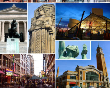 By Montage by Levdr1lp - Montage of photos available on Wikimedia Commons (clockwise from top):File:DowntownCleveland.jpg by User:NammoumjFile:Rock Hall (blue).jpg by Jeff FutoFile:Fountain of Enternal Life statue 2014.jpg by Erik DrostFile:West Side Market Pearl Entrance ( 02 ).jpg by User:JaraxleFile:Cleveland West Pierhead Light, Cleveland, OH.jpg by User:KuyacmhFile:FirstEnergy Stadium 2014.jpg by Erik DrostFile:James A. Garfield Monument.jpg by User:Onativia1File:E. 4th Street.jpg by Edsel LittleFile:Cleveland Museum of Art south entrance 2012.jpg by Erik DrostFile:Guardian of Traffic full 2015.jpg by Erik Drost, CC BY 2.0, https://commons.wikimedia.org/w/index.php?curid=50219725