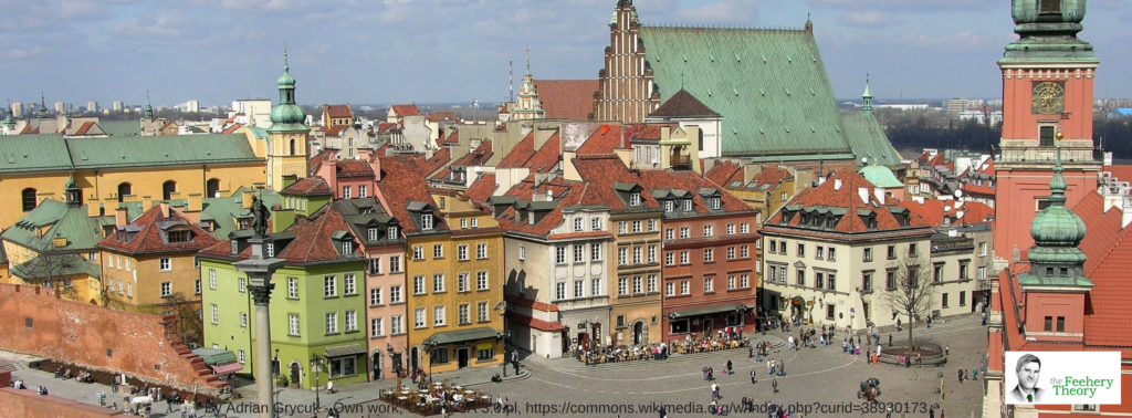 Castle Square in Warsaw viewed from St. Anne's church belfry